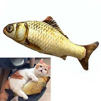 Мягкая игрушка рыба Карп 40см для кошек кота с кошачьей мятой