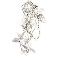 Новогоднее украшение - гирлянда цветок и колокольчик, 2,7 м, серебристый, пластик (472123-1)