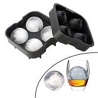 Форма силиконовая для льда Шарики 4.5см двойная Ice Ball для виски 4 ячейки