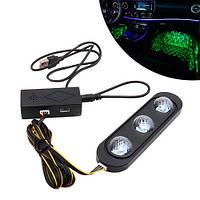 Декоративная RGB LED подсветка зоны ног салона авто с пультом, звездное небо