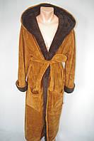 Мужской махровый банный халат с капюшоном коричневой
