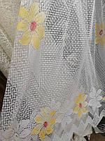 Тюль на кухню 200см. белая с желтым цветком, фото 1