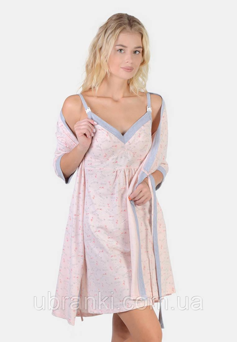 Комплект (ночная рубашка для кормления, халат)