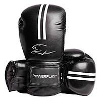 Боксерские перчатки PowerPlay 3016 черно-белые 8 унций