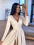 Довге вечірнє плаття максі з глибоким V-вирізом і розрізом на расклешенной спідниці 66031642Е, фото 6