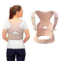 Корректор осанки реклинатор - бандаж стабилизатор для спины - мягкий корсет для поддержки осанки бежевый S/M