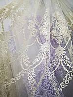 Тюль айвори с плотной вышивкой Турция, фото 1