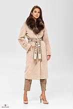 Женская шуба - пальто из искусственного кролика с воротником из натуральной чернобурки ПВ-192 Беж