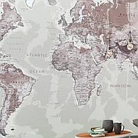 Фотообои бесшовные флизелиновые экологически чистые One more map карта мира на английском языке