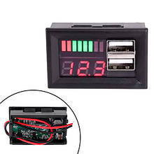 Индикатор заряда аккумулятора, вольтметр 12В, 2xUSB автомобильный