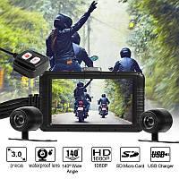 Видеорегистратор для мотоцикла с 2 камерами и пультом управления FHD Черный