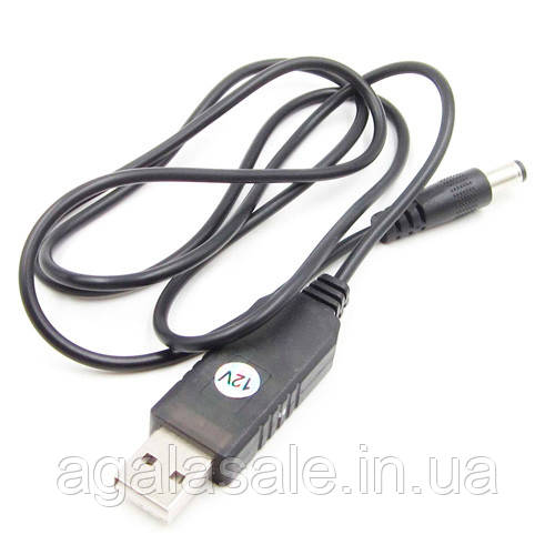 Кабель переходник, преобразователь напряжения 5-12В, USB - 5.5x2.1мм