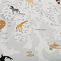 Фотообои бесшовные флизелиновые экологически чистые Aircraft map детские карта мира с животными самолетами
