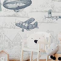 Фотошпалери безшовні флізелінові екологічно чисті Flight дитячі будинки літаки дирижаблі сірі
