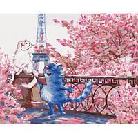 """Набір для розпису по номерах. Тварини, птахи """"Побачення в Парижі"""" 40*50см"""