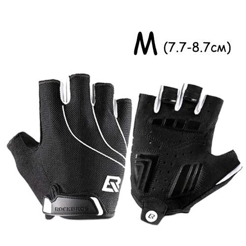 Рукавички велосипедні без пальців гелієві М, 7.7-8.7см, RockBros S107