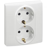 Розетка электрическая 2-ная с заземлением Легранд – «Этика», с защитными шторками цвет белый