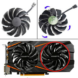 Вентилятор 88мм 12В 4пин T129215SU-B Gigabyte GTX 1050 1060 1070 RX 470 580