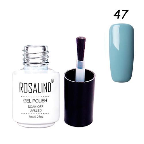 Гель-лак для ногтей маникюра 7мл Rosalind, шеллак, 47 серо-голубой