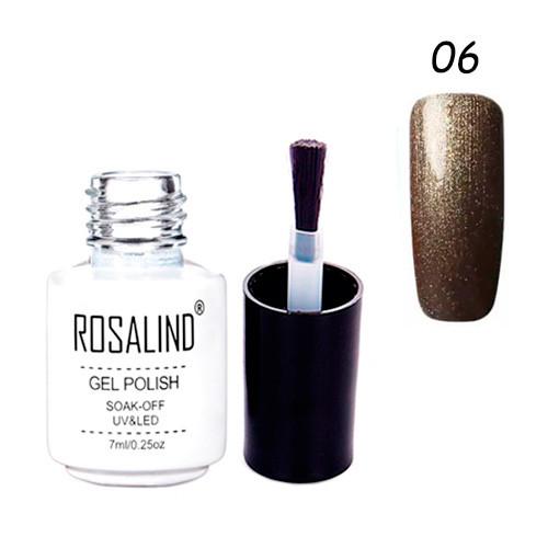 Гель-лак для ногтей маникюра 7мл Rosalind, шиммер, 06 антрацит