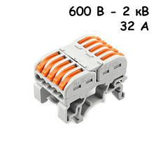 10x Клемма клеммник проходной пружинный 5 пар 600В-2кВ 32А, PCT-2215