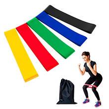 Набор из 5 резинок для фитнеса ленточный эспандер лента сопротивления