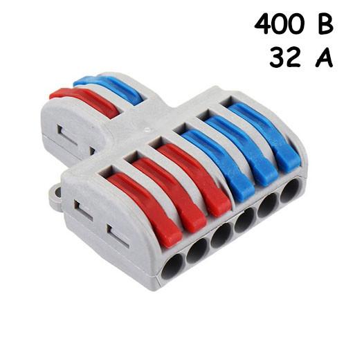 Параллельный разветвитель сплиттер проводов 6 выходов 400В 32А 4мм2 SPL-62