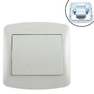 Выключатель света одноклавишный 10А 220В, белый Desant D-301