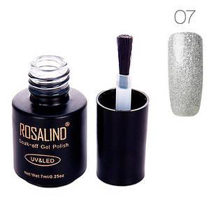Гель-лак для ногтей маникюра 7мл Rosalind, шиммер, 07 серебро