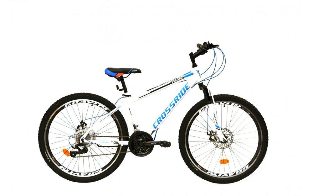 """Велосипед 26 МТВ ST CROSSRIDE """"TIGER"""", сталь, дисковые тормоза, 21 скорость (бел. черн.син)"""