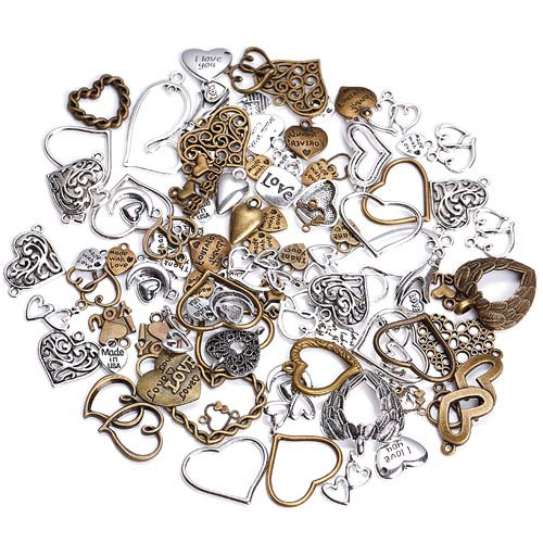 Набір з 100 металевих підвісок Шарм шарміков, серця