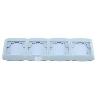 Рамка четверная для розеток, горизонтальная, белая Desant D-324