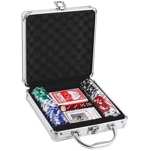 Набор для покера в чемодане: карты, 100 фишек, кубики, покерный