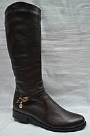 Зимние ( коричневые и черные ) кожаные сапоги на низком каблуке. Большие размеры. Украина.