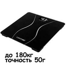 Весы напольные тонкие ЖК 180кг/50г для ванной комнаты Gason A2, черные