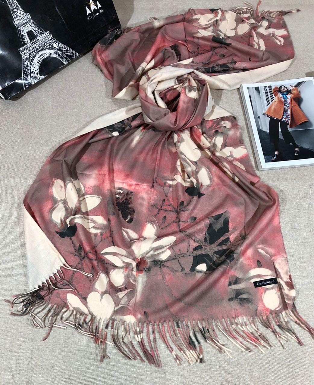 Кашемировый теплый шарф палантин  Cashmere 107024 Розовый
