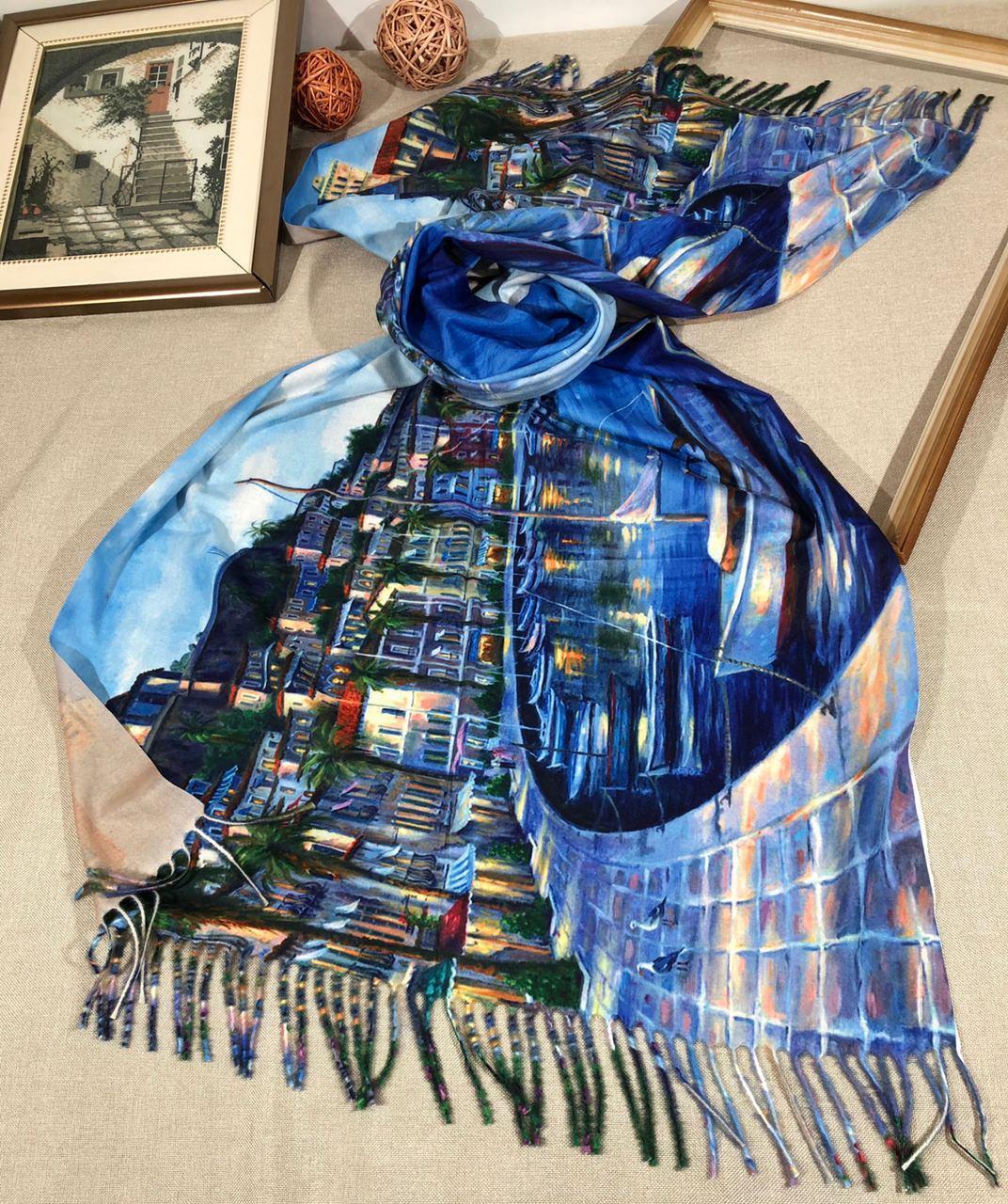 Кашемировый теплый шарф палантин  Cashmere 107028 Синий