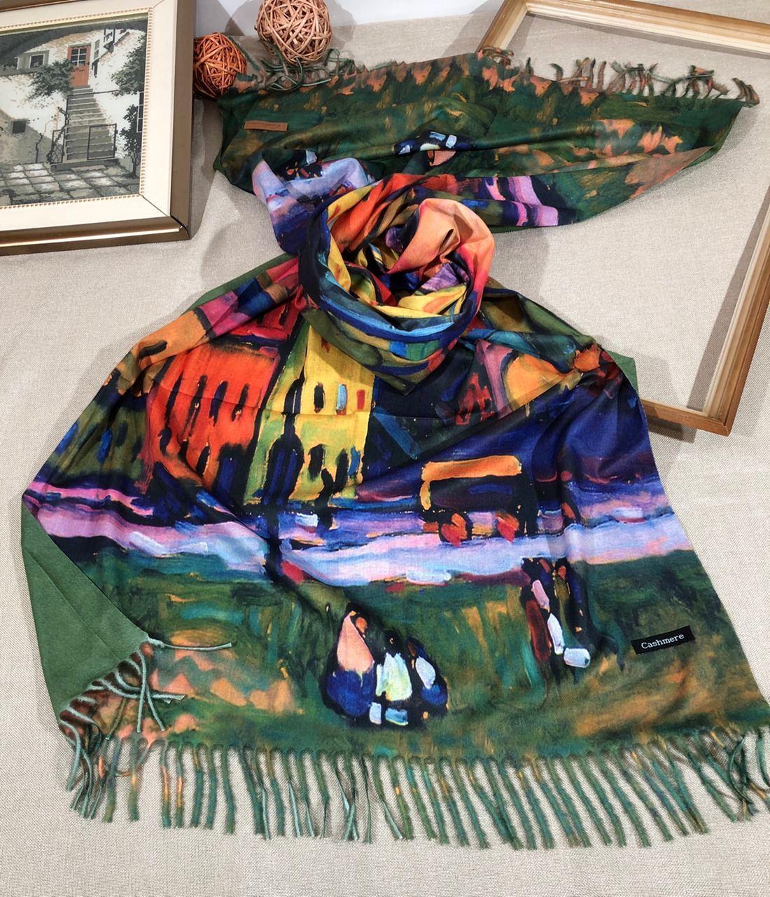 Кашемировый теплый шарф палантин  Cashmere 107028 Зеленый