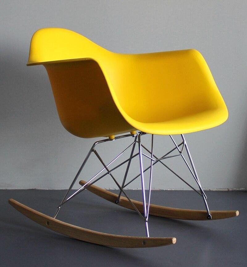 Кресло качалка в современном стиле пластиковое Leon Rack для баров, кафе, ресторанов, стильных квартир желтое
