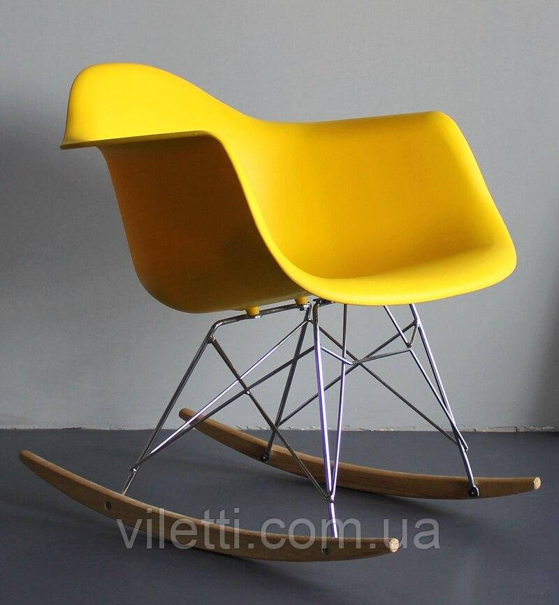Крісло качалка в сучасному стилі пластикове Leon Rack для барів, кафе, ресторанів, стильних квартир жовте