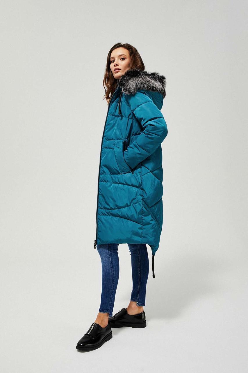 Пальто женское MOODO KU-3306  TEAL GREEN