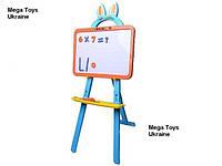 Детская доска для рисования двусторонняя 3 в 1 мел, маркер, магниты, фото 1