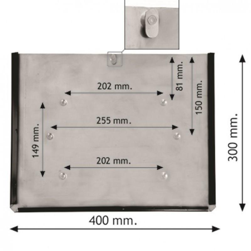 Кишеня для информаціной таблиці 400х300 без чорної рамки з фіксатором (цинк)
