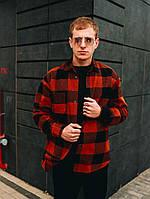 Мужская рубашка Оверсайз теплая в клетку красная. Стильная мужская теплая рубашка красного цвета., фото 1