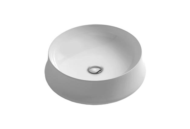 SH01 Simas Sharp Круглий накладний умивальник 50см,білий, фото 2
