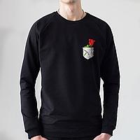 Черный мужской свитшот, карман с розой