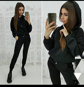 Вики женский теплый костюм худи с капюшоном на флисе черный