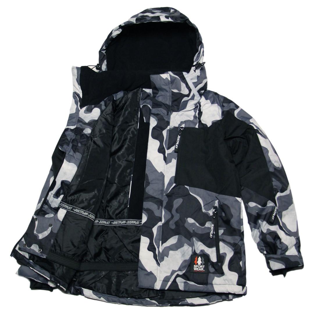 Детская зимняя мембранная термокуртка  для мальчика 128-170 рост Just Play серая милитари
