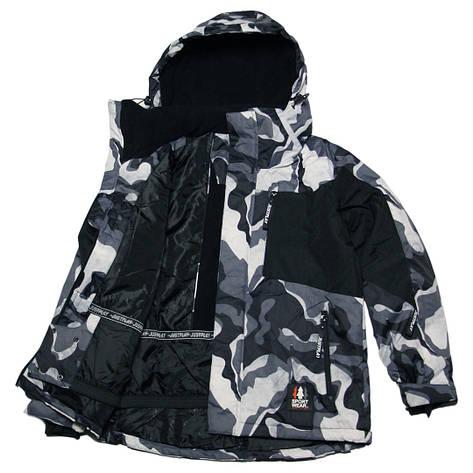 Детская зимняя мембранная термокуртка  для мальчика 128-170 рост Just Play серая милитари, фото 2