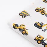 """Фланель детская """"Строительно-дорожные машины"""", фон - белый, ширина 240 см, фото 6"""